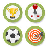 Set of flat games icons Stock Photo