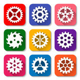 Set of flat gear icons with long shadows. Engineering icon set. Technology equipment. Vector illustration Stock Photos