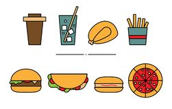 Set of flat geometric fast-food icons. Illustration of colored lemonade, roasted chicken, fries, coffee, pizza, hamburger, hot-dog stock illustration