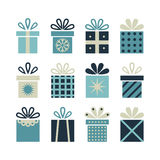 Set of flat gift packages, Christmas gifts Stock Photography