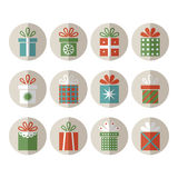 Set of flat gift packages, Christmas gifts Royalty Free Stock Photo