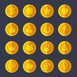 Set of flat gold coins Royalty Free Stock Photography