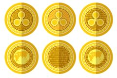 Set of flat golden coin with bitcoin ripple sign back and front side. Vector Illustration isolated on white. Background vector illustration