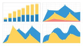 Set of flat graphs and charts with a grid Royalty Free Stock Photos