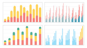 Set of flat graphs and charts with a grid Stock Photography