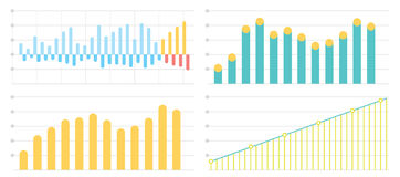 Set of flat graphs and charts with a grid Stock Photo