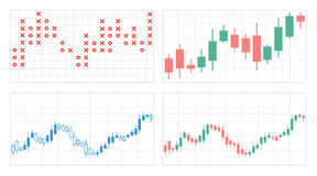Set of flat graphs and charts with a grid Royalty Free Stock Photo