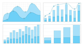 Set of flat graphs and charts with a grid Royalty Free Stock Photography