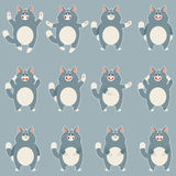 Set of flat grey cat icons Royalty Free Stock Images
