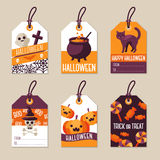 Set of Flat Halloween Gift Tags Royalty Free Stock Photo