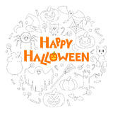 Set of Flat Halloween Icons in the Form of Circle with Congratulations. Vector Illustration royalty free illustration