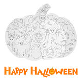 Set of Flat Halloween Icons in the form of pumpkin with Congratulations. Royalty Free Stock Images