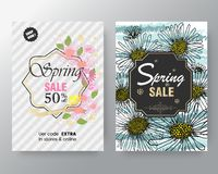 Set of flat and hand drawn spring cards and labels for season sale, fashion discounts, promotional flyers and posters, Colorful an vector illustration