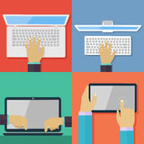 Set of flat hand icons holding various hi-tech computer. And communication devices.  Digital tablet and laptop using hand touching screen symbol Royalty Free Stock Images