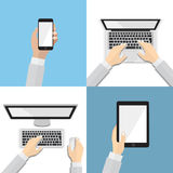 Set of flat hand icons with various communication devices. Using smart phone, laptop, desktop, tablet, flat design concept. Stock Photos