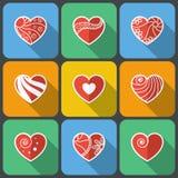 Set of Flat Heart Icons Stock Photos