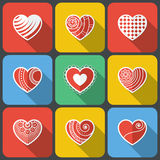 Set of Flat Heart Icons Royalty Free Stock Photos