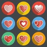 Set of Flat Heart Icons Stock Photo