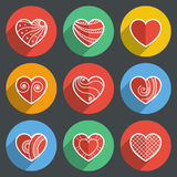 Set of Flat Heart Icons Stock Image