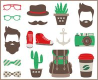 Set of flat hipster style infographics elements,  icons and accessories. Royalty Free Stock Photo