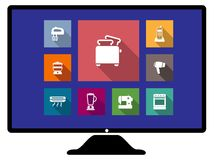 Set of flat home appliances icons on a monitor Royalty Free Stock Photos