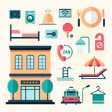 Set of flat hotel icons Royalty Free Stock Photos