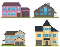 Set of flat house. Home icon. Stock Photos