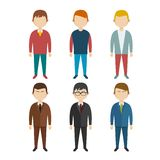 Set of flat human characters  young men  on white Royalty Free Stock Images