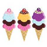 Set of flat ice cream cones. Different flavors and colors Stock Photo