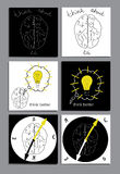 Set of flat icon with brain. Vector set of flat icon with brain. Hand draw template Royalty Free Stock Photo