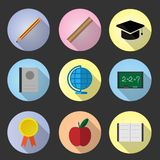 Set flat icon education. With long shadow vector design royalty free illustration