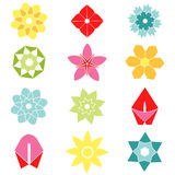 Set of flat icon flower icons in silhouette. Stock Images