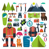 Set flat icon mountaineering Stock Images