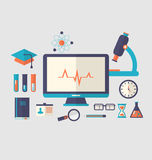Set flat icon of objects chemical laboratory Royalty Free Stock Image