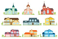 Set of flat icon suburban american houses and churches. Royalty Free Stock Image
