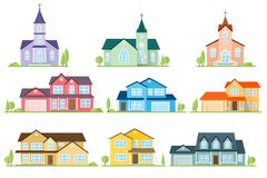 Set of flat icon suburban american houses and churches. Stock Photography