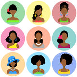 Set of Flat Icons with African Women. Set of Flat Circle Icons with Different African Women Fashion Styles. Vector characters Royalty Free Stock Image