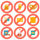 Set of flat icons with allergic gluten products Royalty Free Stock Photo