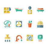 Set flat icons of bathroom Royalty Free Stock Photography