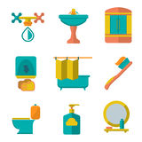 Set flat icons of bathroom and toilet Stock Photos