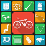 Set of flat icons of bicycle accessories. Royalty Free Stock Images