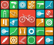 Set of flat icons of bicycle spare parts. Twenty seven icons, infographic elements. Flat long shadow design Royalty Free Stock Images