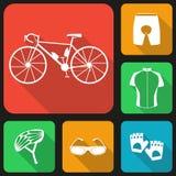 Set of flat icons of bicycle uniform. Stock Photo