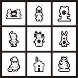 Set of flat icons  in black and white Christmas Stock Photos
