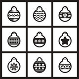 Set of flat  icons in black and white Christmas. Set of flat icons in black and white Christmas balls Royalty Free Stock Photos