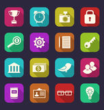 Set flat icons of business, office and financial items, style wi Royalty Free Stock Images