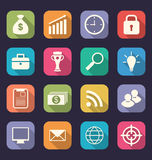 Set flat icons of business, office and marketing items, style wi Royalty Free Stock Photography