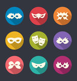 Set flat icons of Carnival or theatre masks with long shadows Royalty Free Stock Photo