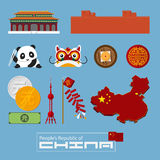 Set of flat icons of Chinese architecture, food, traditional symbols. Royalty Free Stock Images