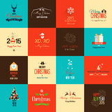 Set of flat icons for Christmas and New Year Stock Images